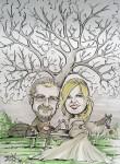 Karikatur Hochzeitspaar